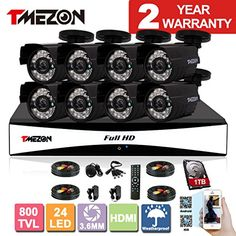 TMEZON 8CH 960H HDMI DVR Kits P2P Recorder 800TVL Cameras Waterproof CCTV Surveillance Security System 3G Remote Mobile Access iPhone Android View 1TB HDD For Sale http://ift.tt/2xhvgnK