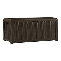 This wicker pool deck box is the perfect solution for your outside storage needs. the roomy pool deck box features carry handles and a snap-together design that makes assembly easy. Its rich brown color will accentuate your deck or patio décor. Outdoor Storage Boxes, Patio Storage, Storage Ideas, Hose Storage, Storage Benches, Storage Shelving, Vinyl Storage, Garage Storage, Extra Storage