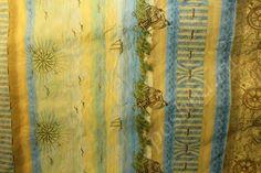 Ткань гобелен с принтом морской тематики в желтых и синих тонах 940/м шир 240