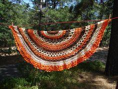 Orange Brown Ecru Crochet Round Tablecloth by NopalitoVintageMore