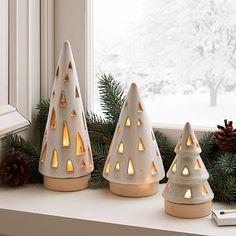 Ceramic Christmas Decorations, Modern Christmas Decor, Ceramic Christmas Trees, Holiday Decor, Christmas Clay, Christmas Crafts, Christmas Tree Set, Xmas, Natural Christmas