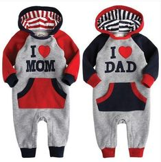 19ca8d53a226 I LOVE MOM DAD Baby Kid Toddler Boy Girl Onesie Bodysuit Romper Jumpsuit  Costume Mom Dad