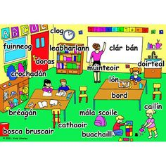 classroom words in the irish language Ireland Language, Irish Language, French Language, Class Displays, French Education, French Classroom, Primary Teaching, Classroom Language, Irish Blessing