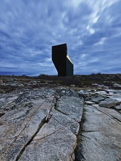 """The Tower Studio, Fogo Island. """"Two community groups, The Shorefast Foundation and the Fogo Island Arts Corporation...have commissioned Norwegian architect Todd Saunders to create six structures on the island, which will act as artists' studios.""""    This is the fourth structure."""