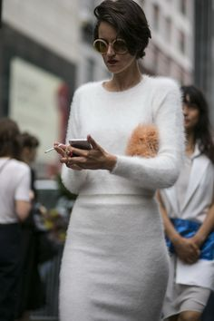 """thetrendytale: """"wgsn: """"Head to toe texture seen on the streets of #NYFW #SS16 """" More Fashion Here"""""""