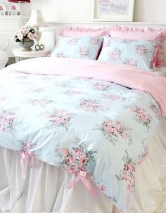 Shabby Chic Blue Style rose pink gingham ties Duvet cover set