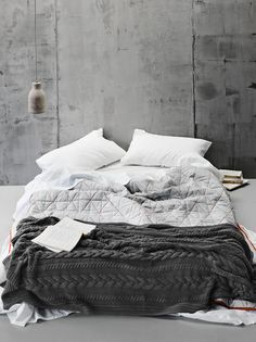 + #wool #linen #industrial   AURA Home, Diamond Coverlet in Dove/Fiery Coral, Autumn/Winter 2015