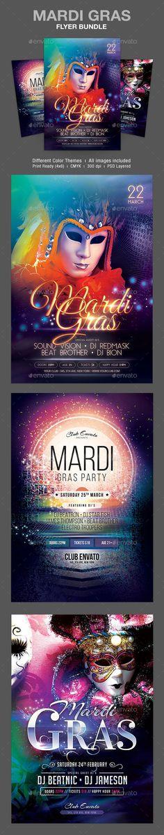 Mardi Gras Flyer Bundle Template #flyertemplate Download: http://graphicriver.net/item/mardi-gras-flyer-bundle/10546753?ref=ksioks