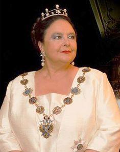 Grand Duchess Maria Vladimirovna wearing her Pearl and Diamond Tiara, Russia (pearls, diamonds).