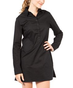This Black UPF 30+ Button-Up Dress is perfect! #zulilyfinds