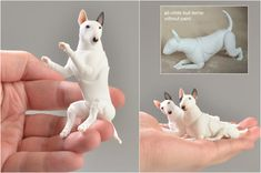 Realistic (BJD) Dog - bullterrier. Bullterrier has unique joints are firmly fixed! We offer white bullterrier with make-up and eyes. You can order the color of your photo (+ $ 45). You can order all-white bull terrier without paint (- $ 25). Doll polished and assembled on elastic 1mm