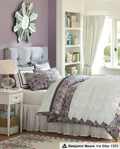 Velvet Geo Bedroom | PBteen    I like the grey and muted violet and how they work together.
