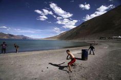 Cricket playing Ladakhi people  seems great to see them playing cricket at Pangong-Tso Lake in ladakh (INDIA)