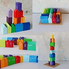 Shop Grimm's Wooden City & Town Waldorf Building Blocks Set, Village of Small Houses. Free delivery and returns on eligible orders of or more. Grimms Rainbow, Wooden Building Blocks, Wooden Rainbow, Wooden Buildings, Unique Toys, Developmental Toys, Puzzle Toys, Montessori Toys, Happy Colors