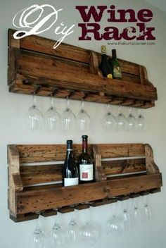 First thing I'm doing for the new apartment...DIY Pallet Wine Bottle and Glasses Wall Rack by jose reyes