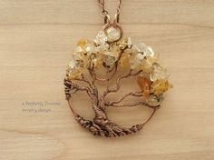 Wire Wrapped Tree of Life Pendant Necklace, Citrine Gemstones Handmade Jewelry Copper Wire Tree Jewelry November Birthstone Yellow Gold Tree Handmade Wire Jewelry, Copper Jewelry, Beaded Jewelry, Copper Wire, Jewelry Shop, Jewellery, Homemade Necklaces, Homemade Jewelry, Wire Wrapped Pendant