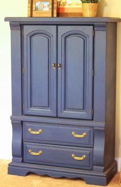 [[Our bedroom tour]] We refurnished an armoire with Annie Sloan Napoleonic Blue chalk paint