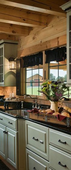 Log Home Interior Colors Interior Paint Colors For Log Homes Best Log Home Kitchens Ideas On Log Cabin Kitchens Designs Log Home Interior Paint Colors Rustic Kitchen Cabinets, Rustic Kitchen Design, Kitchen Decor, Kitchen Wood, Rustic Design, Glass Kitchen, Primitive Kitchen, Wood Cabinets, Kitchen Industrial