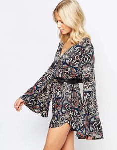 12a6c7027487 Abercrombie  amp  Fitch Folk Print Bell Sleeve Wrap Playsuit Wrap Playsuit
