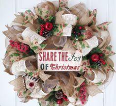 Christmas Deco Mesh Wreath Christmas Wreath by FestivalofWreaths, $105.00