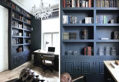 Navy Blue - Paint Color - Built-In Bookshelf - Home Organization - Interior Design