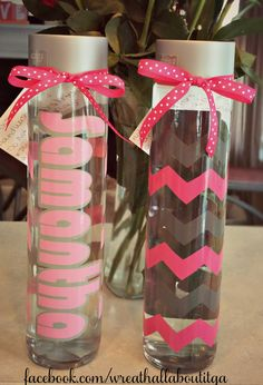 73d21f5bdd 800 mL glass Voss water bottle personalized with your name and Chevron  design, in your choice of colors! Visit www.facebook.com/wreathallaboutitga  to order ...