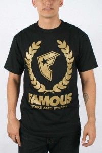 Famous Stars and Straps – Wreath BOH Mens T-Shirt in Black/Gold, Size: Medium, Color: Black/Gold