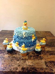 Baby shower rubber duckie cake