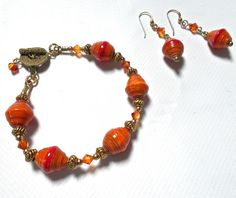 """Ethical Mzuribeads Recycled Paper and brass """"bling"""""""