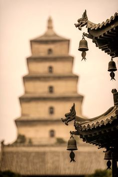 Big Wild Goose Pagoda, Xi'an, China.   西安. Buddhist pagoda located in southern Xi'an, Shaanxi province, China. It was built in 652 during the Tang Dynasty when the silk trade was at its peak.