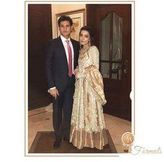 Maliha shimmering in a rose gold #FarahTalibAziz embellished ensemble at a recent wedding in Karachi✨ #FTAweddingwear