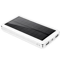 JWPower超大容量22000mAh モバイルバッテリー 、ソーラーチャージャー 2USB出力ポート  地震、 旅行・ハイキングなどの必要品(電源が確保できなかった場合、ソーラーで充電可)  白い