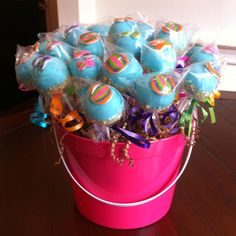 Beachy cake pops!  Love how they are served in a beach pail!!