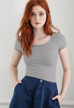 Striped Scoop Neck Top - NEW ARRIVALS - 2000080727 - Forever 21 UK