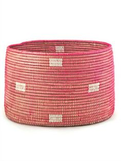 Senegalese Knitting Basket - Pink Dot - pretty mommy shop