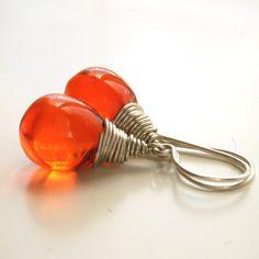 Tangerine Tango Wire Wrapped Earrings