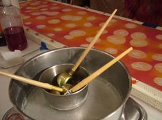 A short batik tutorial using silk and soya wax.