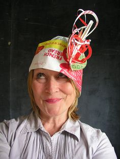 Paper Hats made from ephemera, packaging scraps and my neighbor's junk mail