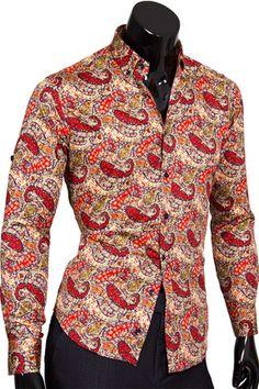 Стильная приталенная мужская рубашка в восточных огурцах