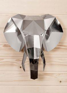 Elephant Paper trophy KIT Elephant head Mirror wall