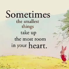 Winnie the pooh...Yes, it's the small things, that are the big things: like a smile, a laugh, a touch, a helping hand, a prayer. . .