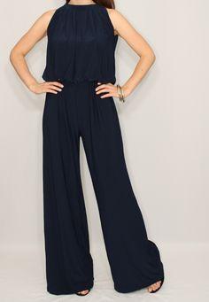 ba56e07107a Navy blue jumpsuit women Dark blue wide leg jumpsuit Navy blue halter jumpsuit  Dark blue sleeveless jumpsuit