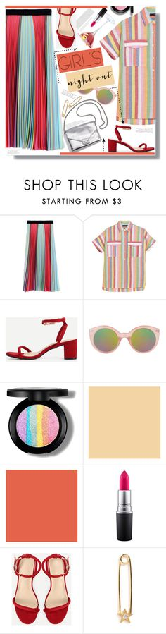"""x Girls Night Out x"" by chocolate-addicted-angel ❤ liked on Polyvore featuring Mary Katrantzou, Loeffler Randall, J.Crew, Topshop, MAC Cosmetics and IaM by Ileana Makri"