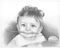 Custom Child portrait- Handmade portrait from your photo - Realistic portrait- Gift for beloved ones Beautiful Pencil Sketches, Pencil Sketches Easy, Realistic Pencil Drawings, Girl Drawing Sketches, Pencil Art Drawings, Pencil Sketch Portrait, Portrait Sketches, Biro Portrait, Cute Baby Drawings