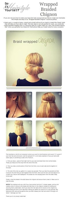 DIY Hairstyles The Wrapped Braided Chignon  great tutorial from Yet Another Beauty Site    For #hairstyles & #hair advice visit us   www.ukhairdressers.com