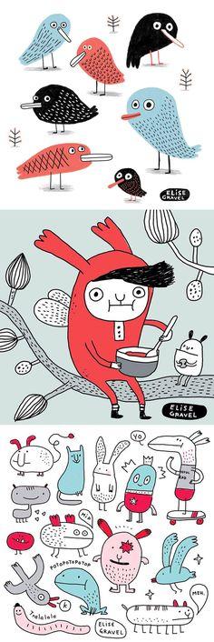 Elise Gravel Illustration • doodles • sketchbook • drawing • bird • character • monsters • cute • blue •red •