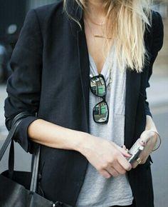 tailored blazer + loose tee.