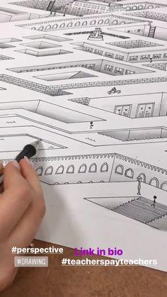 Art For Kids Videos Perspective - Art High School Drawing, High School Art, Middle School Art, Drawing Lessons For Kids, Drawing Skills, Drawing Tips, Perspective Drawing Lessons, Perspective Art, Art En Ligne
