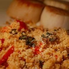 Company Couscous Recipe - Savory couscous flavored with garlic, red bell pepper, scallions, tomatoes and basil, and topped wi - Vegetarian Recipes, Cooking Recipes, Healthy Recipes, Vegetarian Dinners, Healthy Dinners, Pasta Recipes, Diet Recipes, Chicken Couscous, Couscous Salad