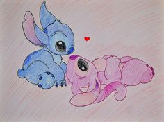 Drawing of stitch and his girl